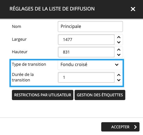 transition liste de diffusion
